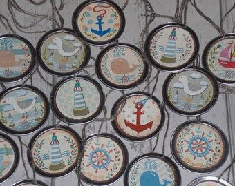 Set of 10 - Assorted Nautical Whale Anchor Sailboat Lighthouse Summer - Metal Rimmed Hang Tags - Tie Ons - Gift Tag - Scrapbooking - Ornies