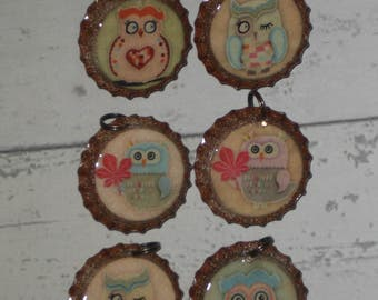 Set of 6 Assorted Owl Bird Bottle Cap Charms Zipper Pulls Ornies Party Favors Tokens Mini Tree Ornaments