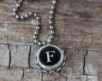 Letter F Necklace, Vintage Typewriter Key Initial, Writer Gift