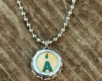 Letter A Necklace, Vintage Typewriter Key, Personalized Initial Pendant, Mother Gift Idea