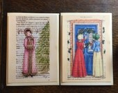 Reserved for Morticia - Jane Austen Christmas cards x 2