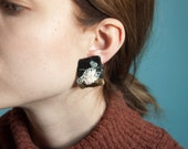 painted abstract earrings / statement earrings / ceramic organic shaped earrings / 1066a