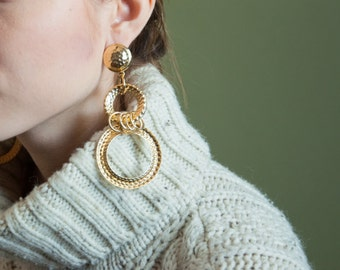 oversized gold hoop dangle earrings / statement earrings / oversized engraved earrings / 1312a