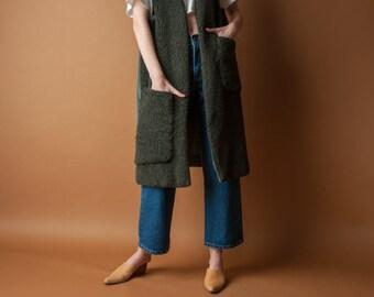 long fleece vest / forest green nubby vest / unique duster vest / s / m / 2103o / B21