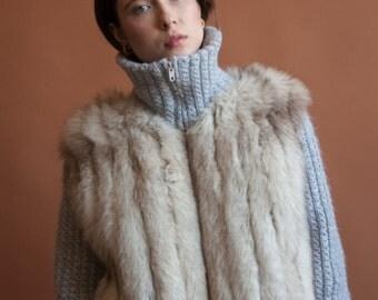 saga fox fur sweater coat / knit fox fur turtleneck jacket / knit wool fur bomber / s / m / 2131o / R5