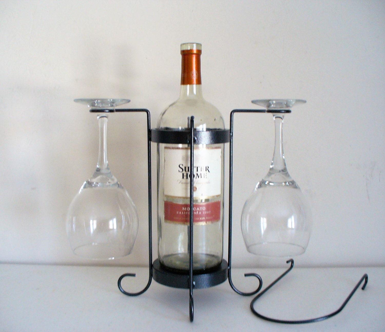 2 glass single bottle tabletop wine holder for Wine bottle glass
