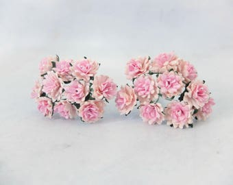 20 15mm two tones pink mulberry paper flowers