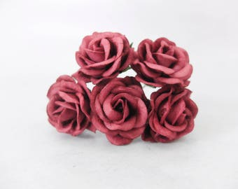 5 pcs - 35mm mulberry paper burgundy rose with wire stem - round