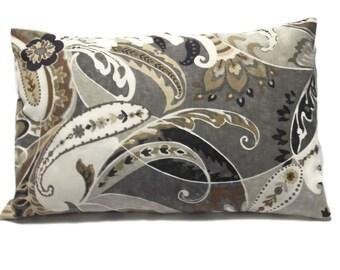 Decorative Lumbar Pillow Cover Paisley Design Brown Cream Black Gray Grey 12x18 inch  x