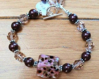 Pink and Brown Artisan Lampwork Bead Bracelet