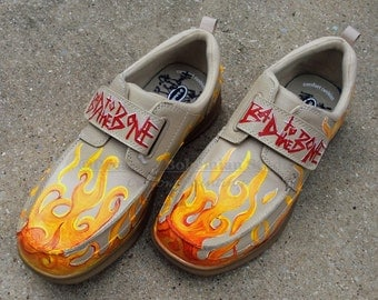 Flame Shoes Men, Gag Gift for Dad, Custom Hand Painted Walking Shoes, Retirement Gift, Bad to the Bone, Retirement Gag Gift, Old Fart Gift