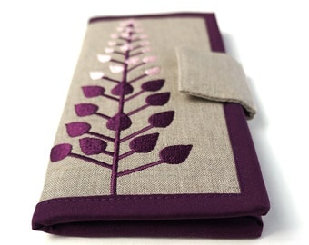 READY TO SHIP   Womans Wallets   Long bifold wallet   Plum Branches Wallet   Modern womens wallet   Gifts for women