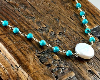 White Coin Pearl, Sterling Silver and Turquoise Necklace / Summer Jewelry/ Beach Jewelry