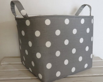 Fabric Organizer Bin Toy Storage Container Basket - White Dots on Gray Fabric  - 8 x 8 x 8