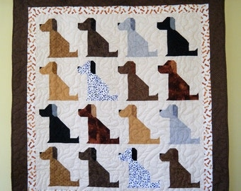 The Universal DOG Quilt with dog bones -- 53 x 56