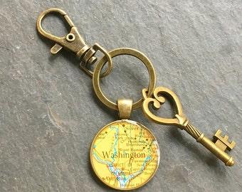 Washington DC Keychain Bronze with Ring Swivel Clasp and Key  Vintage Map