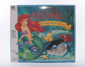 The Little Mermaid Game, Board Game, Preschool, Disney, Ariel, Instructions, Vintage ~ The Pink Room ~ 160929
