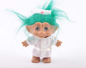 Nurse Vintage Troll, Dressed, Russ, Dam, Norfin, Collectible, Medical ~ The Pink Room ~ 161002C