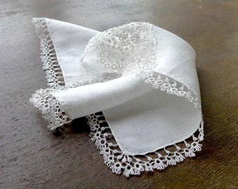 Antique Linen Handkerchief with Tatted Lace