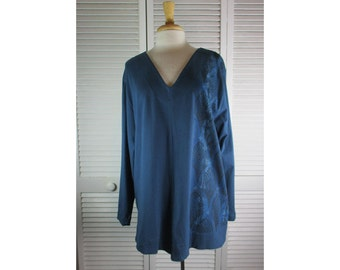 That A Way Tunic - Mariner Blue Organic Knit w/ Art Nouveau 1X Ready to Ship