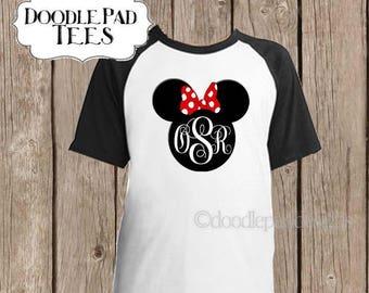 Minnie Raglan Shirt, Disney Baseball Shirt, Monogrammed Disney Shirt