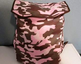 Toddler, child's backpack in pink camo.