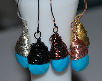 Sleeping Beauty Turquoise Wire Wrapped Earrings Silver Gold Gunmetal Antique Copper Rose Gold