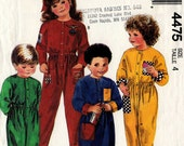 1989 CHILDREN'S JUMPSUIT PATTERN McCall's #4475 Size 4 Boys Girls Toddlers Pull-on Vintage Sewing