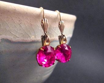 Rhinestone Earrings, Hot Pink Glass Stones, Brass Dangle Earrings, FREE Shipping U.S.