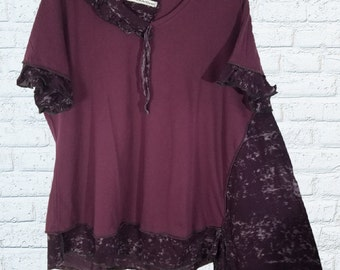4X Ruffled Color block Tunic Shirt Eco Friendly Plus Recycled Fashion Plum Purple