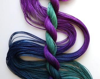 "Size 10 ""Stardate"" hand dyed thread 6 cord cordonnet tatting crochet cotton"