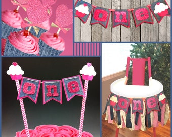 1st Year Birthday Digital svg Cut Files Kit, Blue Jean Babe: Banner, Cake Top, Straw Slides, Cupcake Sleeves & Toppers, Smash Cake, Tutorial