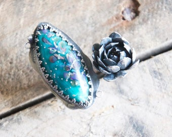 Teal Glass + Succulent Open Ring / Modern Jewelry