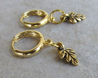 Dainty Gold Leaf Hoop Earrings, Tiny Oak Leaf Charms, Locking Hoops, Delicate Jewelry Gift for Her