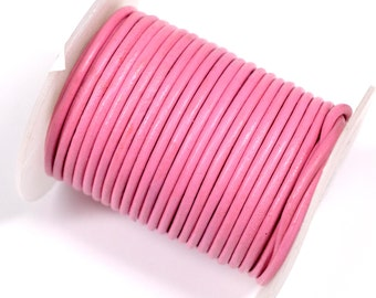Pink Rolled Leather 1.8mm diameter