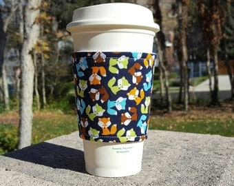 Fabric coffee cozy / coffee cup holder / coffee sleeve -- FOXY friends