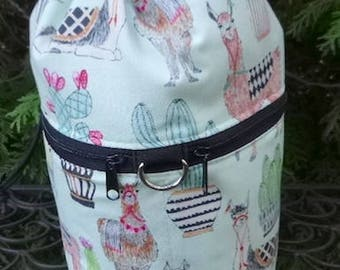 Llama knitting bag, drawstring bag, knitting in public bag, small project bag Llama and Cactus in green, Kipster