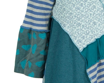Festive aqua striped and print funky upcycled tunic ... with diamonds