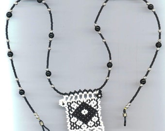 Eye Glass Holder Jewelry, Black & White Beadwoven Pendant, Beaded Geometrical Design , Southwestern Rustic Jewelry, Days and Nights Pendant