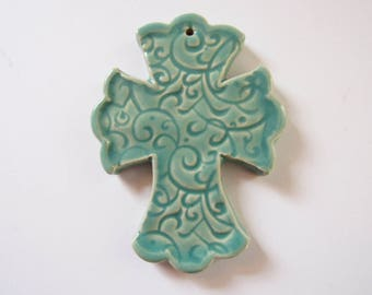 Clay Cross - handmade - ready to mail - mint green with scroll design