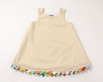 Party Flag Bunting Girls Dress, Newborn Dress, Baby Dress, Toddler Dress, Creme Swiss Dot Dress with Rainbow Trim, Size Newborn to 2T