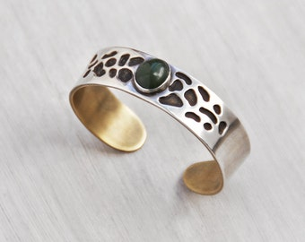 Vintage Sterling Silver and Brass Cuff - artisan bracelet with freeform cutouts and jade cabochon - women's small to medium