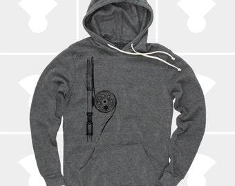 Fly Fishing Rod Men's Shirt | Pullover Hoodie Sweatshirt | Fly Fishing Gifts | Gift for Men | Gift for Dad | Alaska | Gift for Husband