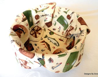 Basket Liner, Table Topper, Centerpiece, Bread Cloth, Fish and Fishing Equipment on a Creamy Background, Handmade Table Linens