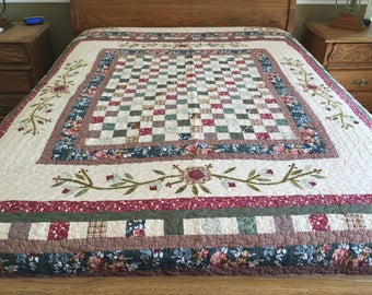 Spring time King size new Patchwork Machine quilt