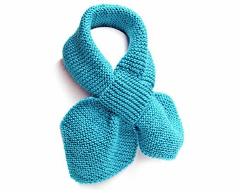 Kids Blue Pull Thru Knit Scarf. Baby Toddler Keyhole Muffler 2 to 4 Years. Child's Winter Neck Warmer Wrap. Bow Tie Loop Scarf Ascot