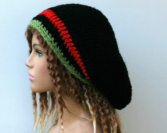 Slouchy hat, Black red green stripes hat, small tam dread hat, Hippie Slouchy Beanie Hat, woman slouch hat/man slouchy beanie/slouchy beanie