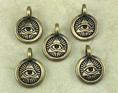 Eye of Providence Round Stamp charm > Pyramid Ra Horus Egyptian Freemason US Seal Brass Plated Lead Free pewter I ship Internationally 2505