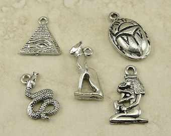 5 Egyptian Symbol Artifact Charms Mix - Cleopatra Baste Cat Asp Snake Scarab Pyramid Egypt American Made Lead Free Pewter Silver Finish