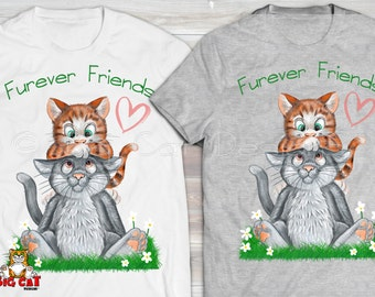 FUREVER FRIENDS.  Gray Cat and Orange Tabby Best Friends Tshirt.  Funny Cat Tshirt.  Cute Cat Tshirt.  Friendship Gift